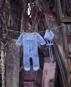 Newborn knit romper and bonnet set Newborn by GabriCollection