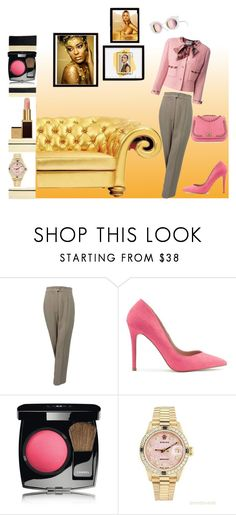 """""""goldie"""" by e-memagic ❤ liked on Polyvore featuring Karl Lagerfeld, Chanel, Miss Selfridge, Tom Ford, Rolex, Pottery Barn and Rika"""