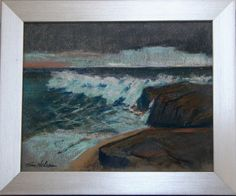 """Beautiful Original Seascape 8"""" x 10"""" Pastel Painting on Canson Mi Teintes Pastel Paper by Maine Artist Tom Nelson in New 9"""" x 11"""" Frame. by TomNelsonArt on Etsy"""