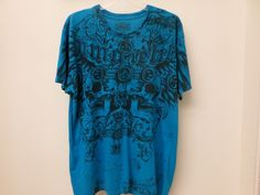 MMA Elite Size XL Mens T-Shirt Skulls Crosses Medium Blue and Black Pre-owned #MMAElite #GraphicTee