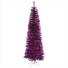 Vickerman PreLit Purple Tinsel Pencil Artificial Christmas Tree with Purple Lights 45 by Vickerman -- Click on the image for additional details.