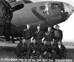 BILLY B. SOUTHWORTH CREW - 427th BS B-17F Bad Check #41-24587 (GN-P) (original crew assigned 427BS: 01 May 1942 - photo: 12 Oct 1942)  (Back L-R) Capt Billy B. Southworth (P), 2Lt John L. Dillinger (CP), 1Lt Jon R. Schueler (N), 2Lt Milton K. Conver (B)  (Front L-R) T/Sgt Lucien W. Means Jr., SSgt Edward J. Doughty, Sgt Waldo B. Brandt, Sgt William W. Fleming, Sgt Jack Belk