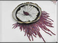 big fiber brooch black gray purple contemporary by GENEZAfiberART, $55.00