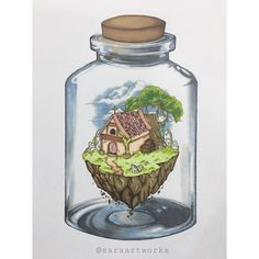 I was thinking .. what if we can actually capture a part of our favorite place inside of a jar ? • • #art #artist #artwork #draw #doodle #anime #animeworld #instaart #nature #fantasy #island #landscape #animation #sketch #promarker #markers #كلنا_رسامين #ماركرز #سكيتش#