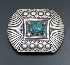 Martha Cayatineto (Navajo) - Green Turquoise & Repoussé Satin Finished Sterling Silver Belt Buckle #41450 $285.00