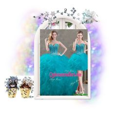 """New Arrivals Beaded And Ruffled Teal Detachable Quinceanera Dresses In Organza"" by nataliy0527 ❤ liked on Polyvore featuring Bastien"