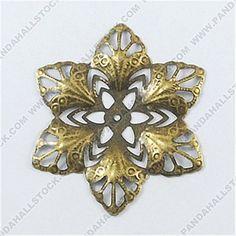 Iron Pendants, Filigree Flower, Antique Bronze