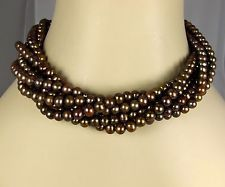 "Exex Claudia Agudelo Silver Golden Brown Pearl 7-Strand Torsade Necklace 18-20"""