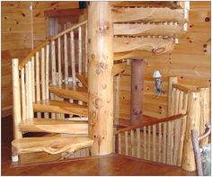 love these rustic spiral stairs - would love to duplicate this in a dollhouse miniature cabin