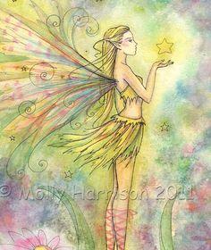 Golden Star -  9 x 12 Watercolor Fine Art Giclee Print - Fairy Fantasy Illustration by Molly Harrison