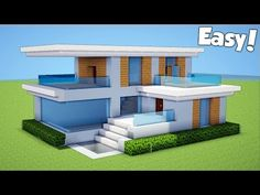 Minecraft: How To Build A Small & Easy Modern House Tutorial ( - Minecraft Servers Web - MSW - Channel Modern Minecraft Houses, Minecraft House Plans, Minecraft Structures, Minecraft House Tutorials, Minecraft Houses Blueprints, Minecraft City, Minecraft House Designs, Minecraft Construction, Minecraft Tutorial