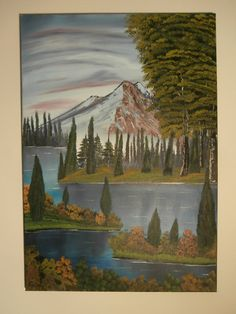 Oil Painting Hand Painted By The River Portrait Oriented Bright Green Blue Colours Landscape Scenery Online Buying Art Handmade Canvas