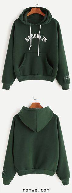 Army Green Hooded Letter Print Drop Shoulder Pocket Sweatshirt