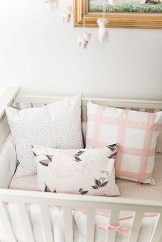 Vivienne Floral Pillow - Blush  girls room crib design