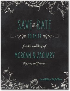 Like the idea of chalkboard save the dates worked in with the engagement session.  Two birds....