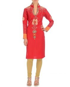 Red Tunic With Velvet Hand Embroidered Flower
