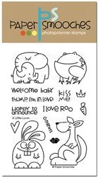 A  super sweet baby - love combo theme stamp set that includes a mamma and baby elephant, rabbit, frog and kangaroo