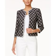 Kasper Petite Printed Jacquard Open-Front Jacket ($59) ❤ liked on Polyvore featuring outerwear, jackets, white jacket, petite jackets, kasper jacket, open front jacket and jacquard jacket