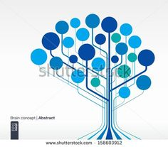 Abstract background with lines and circles. Brain concept for communication, infographic, business, medical, social media, technology, network and web design. Vector illustration.