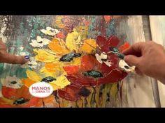 Como pintar con espatula Flores - Acrilicos - YouTube