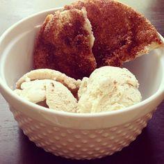 Homemade cinnamon ice cream with cinnamon crisps. Great on a hot summer day!