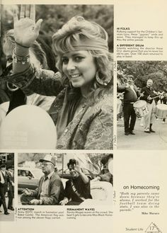 """Athena Yearbook, 1988. Ohio University Homecoming Parade, """" Rallying support for the Children's Services levy, the Gypsies smile and wave, OU Alumni playing drums, Renita Magee, Miss Black Homecoming queen waves to the crowd"""", Fall 1987, Ohio University Archives"""