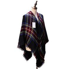 Women's Cozy Tartan Blanket Scarf Wrap Shawl Neck Stole W...