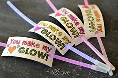 Glow Stick Valentines - You make my heart glow! (Non candy valentine ideas)