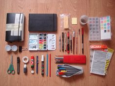 This is just one in a wonderful set of flickr photos of sketch kits. Just click on it and then click to the next...and the next...