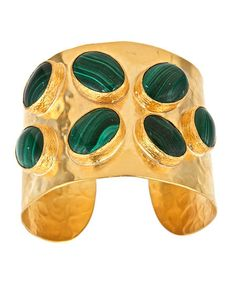 Get enamored by this fancy malachite cuff. The gold plated cuff is richly made with unique designs that can be seen on both the outside and inside of the piece. Seven inspiring malachite stones jut out from the top of the cuff. Fashion Bracelets, Bangle Bracelets, Bangles, High Jewelry, Jewelry Accessories, Artisan Jewelry, Handmade Jewelry, Malachite Jewelry, Max And Chloe