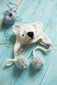 Knitted Polar Bear Hat Pattern From Animal Hats by Rachel Henderson (Sweet Living)