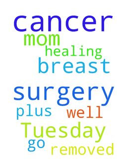 My mom has surgery Tuesday for breast cancer. Prayers - My mom has surgery Tuesday for breast cancer. Prayers that the surgery will go well and all the cancer will be removed. Plus prayers for healing. Posted at: https://prayerrequest.com/t/wqK #pray #prayer #request #prayerrequest