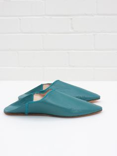 Moroccan Pointed Babouche Slippers, Teal