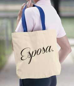 7754f784a16d Esposa Cotton Canvas Tote Bag. Wife Totes Bag. Funny Tote. Gift Idea. Eco  Reusable Shoulder Bag. Eco