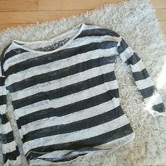 """Shirt This is a see through shirt with a """"marled"""" pattern and charcoal grey stripes. Tops"""