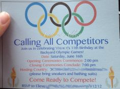 Olympics Birthday Party Invitation Idea