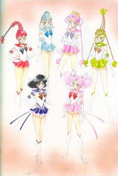 Sailor Saturn, Sailor Chibi-Moon , Sailor Quartet : 美少女戦士セーラームーン原画集 Sailor Moon Original Picture Collection vol.5 - by Naoko Takeuchi