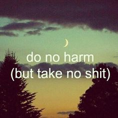 Do no harm but take no shit.