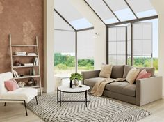 Pleated blinds in linen white from Apollo Blinds. Biofilia home decor trend inspiration. Home decor ideas inspired by the natural world. Skylight Bedroom, Skylight Blinds, Blinds For Windows, White Blinds, Best Blinds, Blinds Design, Spring Home Decor, Home Decor Trends, Decor Ideas