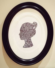 Zentangle silhouette of my daughter. #silhouette #zentangle #victorian silhouette #doodle #ovalframe