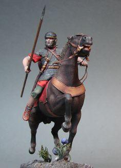 Roman legionnaire on horseback. Toy solider.