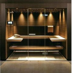 38 Easy And Cheap Diy Sauna Design You Can Try At Home. he prospect of building a sauna in the home may initially sound daunting, but in fact it is a relatively simple project . Home Steam Room, Sauna Steam Room, Sauna Room, Spa Interior, Piscina Interior, Design Interior, Interior Decorating, Sauna Lights, Modern Saunas