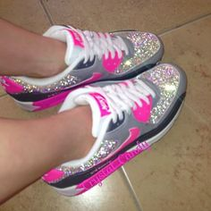 💖🎀Pretty Pink  amp  Grey Authentic Nike Air Max 90 s crystallised with a  sparkling c92b128d1ea7