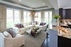 What A Gorgeous Sitting Room And Kitchen Area Great Light Leads Way To Neutral Slipcover Sectional Chair