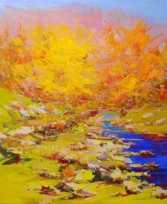 Golden Autumn Landscape Painting Oil Landscape Art by Yuri Pysar