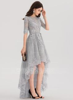 Princess Scoop Neck Asymmetrical Tulle Lace Evening Dress Evening Dresses JJsHouse is part of Dress pesta - Kebaya Dress, Dress Pesta, Cute Dresses, Beautiful Dresses, Dresses With Sleeves, Lace Dress With Sleeves, Bridesmaid Dresses, Prom Dresses, Formal Dresses