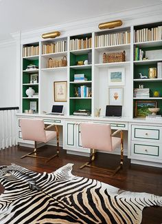 Two things I love about this - backwards books which look awesome and green painted inside shelves.