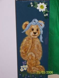 Another attempt at Folk art-- a plastic bag holder Plastic Bag Holders, Over The Years, Folk Art, Teddy Bear, Tapestry, Toys, Animals, Hanging Tapestry, Animales