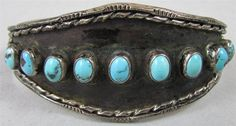 """Antique 7"""" Sterling Silver & Turquoise Native American Cuff Bracelet 593"""