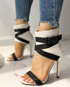Splicing Bandage Peep-toe High Heeled Sandals New Arrival Bikinis, Jumpsuits, Dresses, Tops, High Heels on Sale. High Heels Outfit, Heels Outfits, Black High Heels, Shoes Heels, Heeled Sandals, Dress Shoes, High Heels With Jeans, Dance Shoes, Sandal Heels